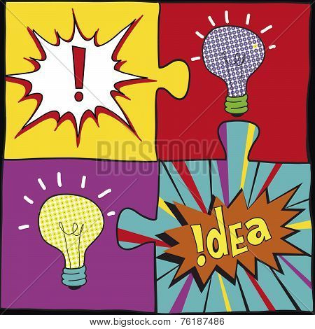 Idea puzzles in Pop art style. Creative light bulbs idea concept background design