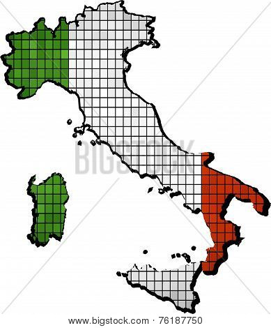 Italy map with flag inside