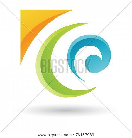 Orange, Green and Blue Abstract Icon Illustration isolated on a white background
