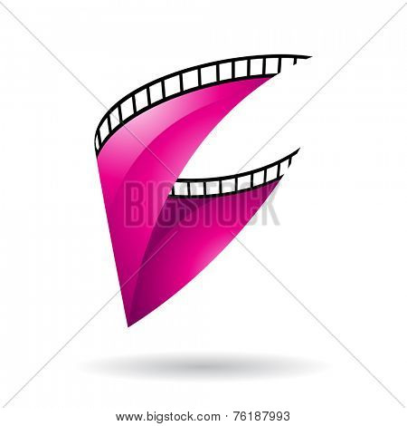 Magenta Glossy Film Reel Isolated on a white background