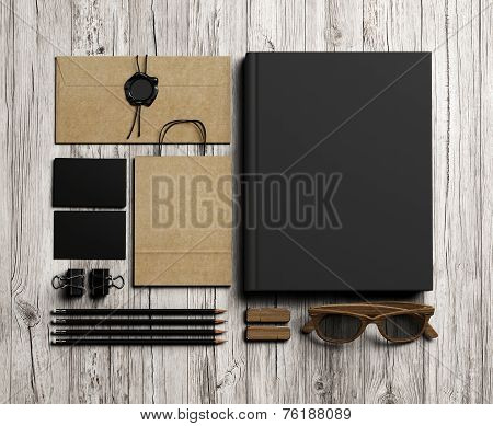 Set Of  Branding Elements On Vintage Wood Background