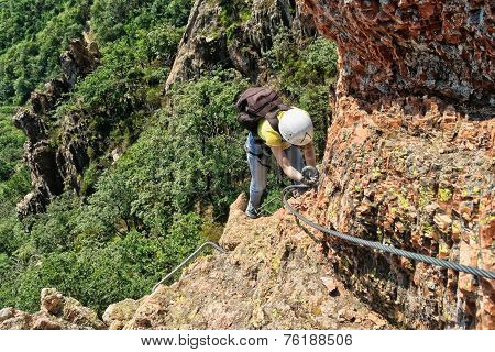 Climber On Via Ferrata