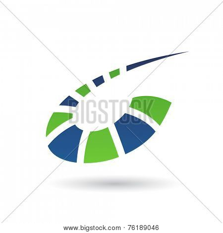 Green and Blue Abstract Icon Illustration isolated on a white background