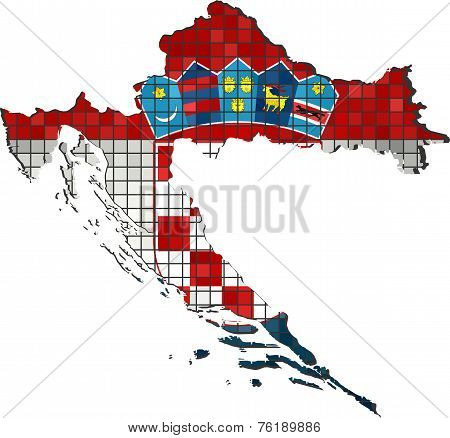 Croatia map with flag inside