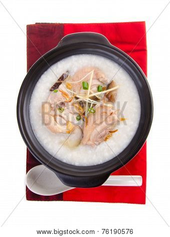Traditional Chinese Porridge Rice Gruel Served In Claypot