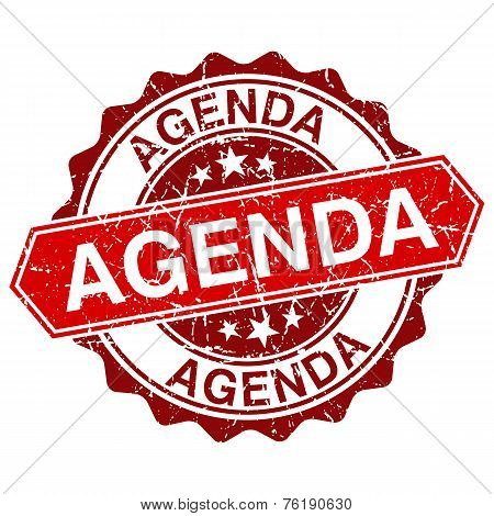 Agenda Red Vintage Stamp Isolated On White Background