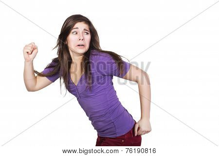 Brunette woman run scared isolated on white