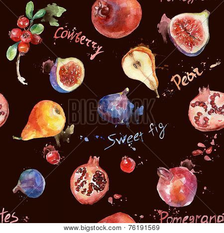 Seamless pattern. Colorful watercolor fruit.