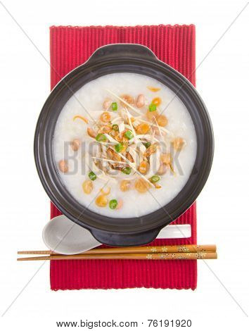 Traditional Chinese Scallop Porridge Rice Gruel Served In Claypot