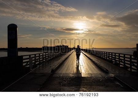 A Jogger Crossing Bull Bridge At Dollymount