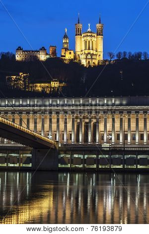 Vertical View Of Saone River And Basilica
