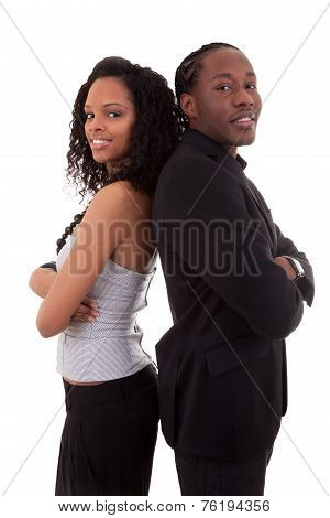African American Couple Back To Back