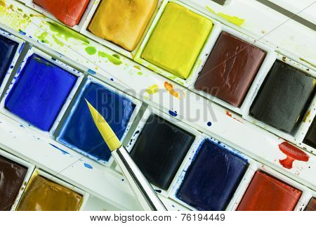 Artists Watercolour Paints And Paint Brush