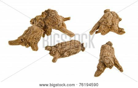 Chinese Ginseng or Dried Ginseng On Background
