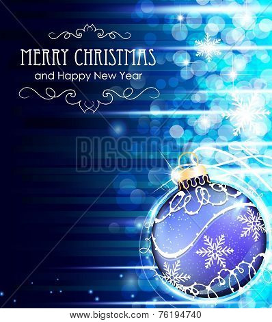 Blue Background With Christmas Ball