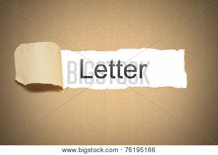 Brown Package Paper Torn  Reveal White Space Letter