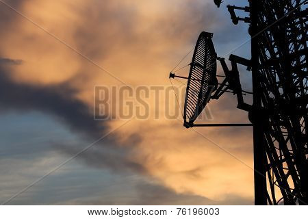 Silhouette Satellite Communication Tower Poles On Evening