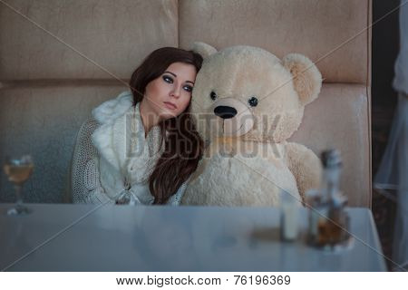 Sad Girl With Toy Bear.