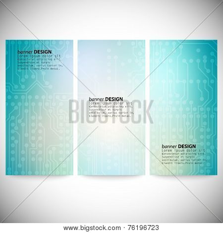 Set of vertical banners. Microchip backgrounds, electronics circuit, EPS10 vector illustration