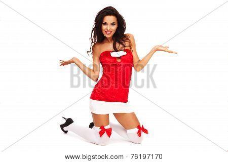Santa Helper Girl On White Background With Long Hair