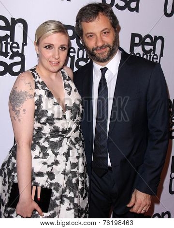 LOS ANGELES - NOV 11:  Lena Dunham, Judd Apatow at the PEN Center USA 24th Annual Literary Awards at the Beverly Wilshire Hotel on November 11, 2014 in Beverly Hills, CA