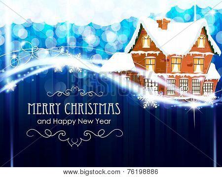 Brick Cottage  On A Blue Christmas Background