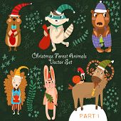 stock photo of gopher  - Cute Christmas vector set of Woodland and Forest Animals - JPG