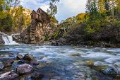 image of water-mill  - Crystal Mill Wooden Powerhouse located on Crystal River Colorado - JPG