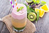 image of peach  - Rainbow smoothie with strawberry - JPG