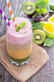 image of peach  - Rainbow smoothie with strawberry - JPG