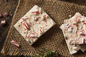 stock photo of white bark  - Homemade Holiday Peppermint Bark with White and Dark Chocolate - JPG
