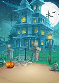 stock photo of scary haunted  - mysterious Halloween haunted house and scary pumpkin - JPG