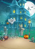 foto of scary haunted  - mysterious Halloween haunted house scary pumpkins magic hat and cheerful ghost - JPG