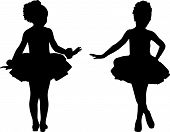 picture of ballet dancer  - Silhouette small children play ballet  - JPG