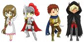 pic of paladin  - Four fantasy cartoon warriors and wizard characters set create by vector - JPG