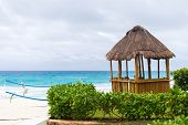 stock photo of pergola  - Lifeguard pergola on caribbean beach Cancun Mexico - JPG