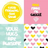 stock photo of you are awesome  - Cute collection of valentine love and friendship postcard cover design typography background in vector - JPG