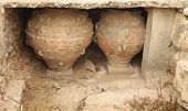 Ancient Minoan Jars At Phaistios In Crete