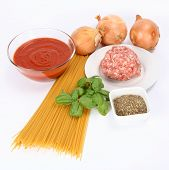 Spaghetti bolognese ingredients poster