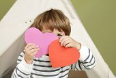 stock photo of arts crafts  - Child kid engaged in a Valentine - JPG