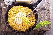 picture of grating  - Creamy corn with cream and grated parmesan - JPG