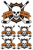 Постер, плакат: Hockey emblem with skull and crossed hockey sticks