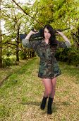 image of m16  - Beautiful young woman soldier with a M16 rifle - JPG