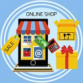 stock photo of awning  - Internet shopping concept smartphone with awning of buying products via online shop store e - JPG
