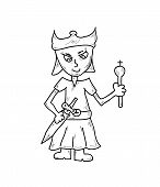 stock photo of prince charming  - prince with sword and crown vector isolated sketch - JPG