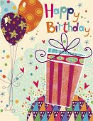 stock photo of birthday  - Beautiful happy birthday greeting card with gift and balloons in bright colors - JPG