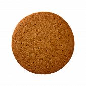 picture of ginger  - Aerial view of a single brown ginger snap cookie or biscuit - JPG
