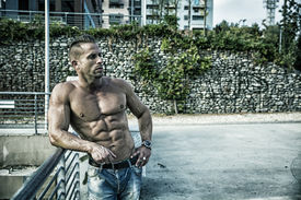 pic of hunk  - Handsome Muscular Shirtless Hunk Man Outdoor in City Setting - JPG
