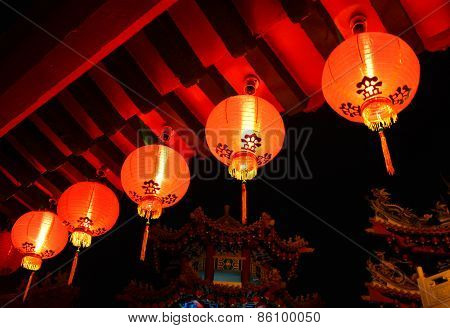 Red Lanterns glowing in the dark in Thean Hou Temple, Kuala Lumpur.