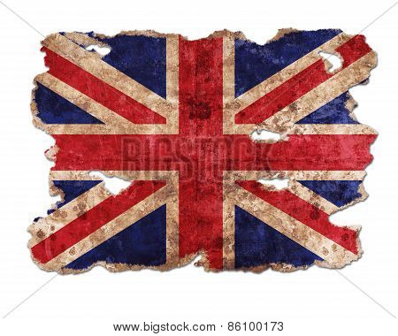 England Flag In Form Of Torn Vintage Paper